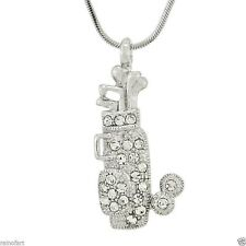 Golf Bag Made With Swarovski Crystal Cart Push Ball Pendant Necklace Chain