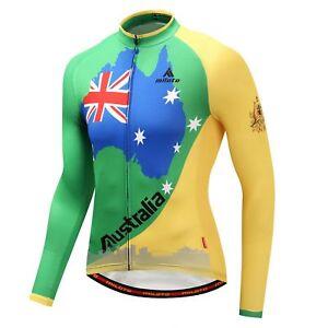 Men's Cycling Team Australia Long Sleeve Jersey Reflective Bike Cycle Jersey Top
