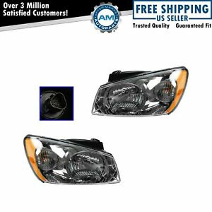 Headlights Headlamps w/ Dark Background Left & Right Pair Set For 05-06 Spectra