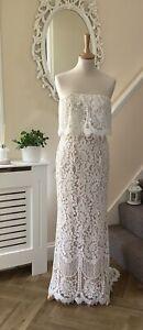 BNWOT Jarlo Lace Wedding Dress Bandeau Maxi Size 8 Petite Bohemian