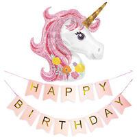 Pink Unicorn Balloon & Happy Birthday Bunting Banner Girls Party Decoration Set