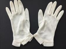 1 pair Kayser vintage gloves off white size 7 see through wrist length nylon USA