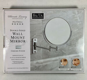 """Double-sided Wall Mount Mirror Chrome Finish 8""""-D/ 8x/1x Magnifying-RV $39.99"""