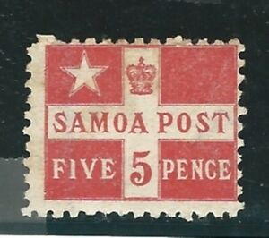 Samoa: 1877; Scott 23a, perf 11x11, no gum, hinged, rust. EBSS04