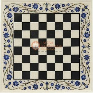 Marble White Chess Set Board Lapis Inlaid Marquetry Floral Design Handmade Chess