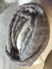 Glittery Gray Cowl Infinity Circular Scarf  Loose Light Knit Dotted w/ Sequins