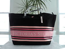 NEW VICTORIA'S SECRET ZIPPER TOTE BAG / BLACK WITH PINK STRIPES - NWT $65.00US