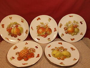 Seltmann Weiden Porcelain Fruit Design Gold Trim Set of 5 Salad Plates 7 1/2""