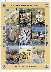 Niger 1998 MNH Rotary Tigers Lions Owls Gazelles 9v M/S Birds Animals Stamps