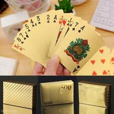Stylish Waterproof 24K Gold Foil Plated Cover Poker 54 Playing Card Table Game z