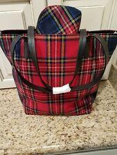 J Jill New Red Multi Tartan Plaid Tote Bag & Cosmetic Case Fabric/Leather Nwt
