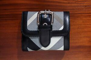 BURBERRY Blue Label GELDBÖRSE Portemonnaie SCHWARZ weiß / checked pattern WALLET