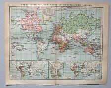 Deutsche und Europäische Kolonien - Weltkarte - Lithographie 1902
