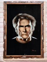 "Vintage Clint Eastwood Wood Framed Black Velvet Painting (28"" x 40"")"