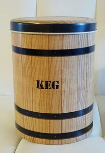 """Vintage """"Keg"""" Barrel Canister Tin Metal cookie jar container Collectible Cheinco"""