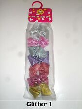 7 pk kids hair bows, clips with Glitter finish