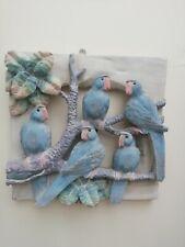 More details for fabulous decorative unusual 3 d parrots wooden panel