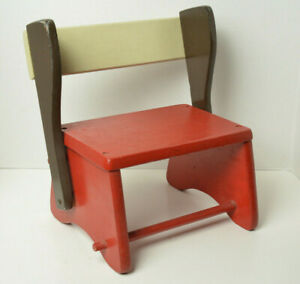 UNIQUE Antique Child's Wood Convertible Step Stool Bench-Great shape for its age