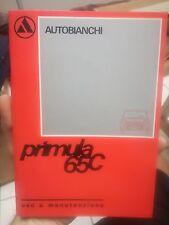 LIBRETTO USO MANUTENZIONE Autobianchi Primula 65C 1968  2/4/5 porte