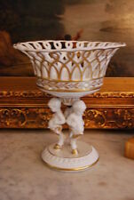 WONDERFUL SPANISH VINTAGE PORCELAIN RETICULATED EMPIRE STYLE COMPOTE CENTERPIECE
