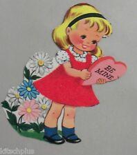 Vtg Valentine Pretty Little Blond Girl Daisies Flower Heart Flocked Dress Unused