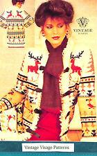 Vintage knitting pattern-how to make a ladies christmas reindeer jacket cardigan