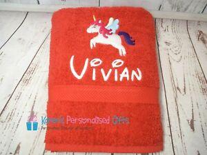 Personalised Towel, Kids Red Swim/Bath Unicorn Towel (Choice of colours)