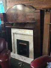 Vintage Dark Brown  Wooden Fire Surround With scalloped top -  Reclaimed