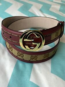 GUCCI Belt Guccissima Red Coated GG Gold Buckle Brown / Beige Size 85/34 FWCGG