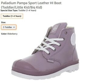 NIB Palladium Pampa Sport Leather HI Boots Elderberry Inf Tod SZ 5