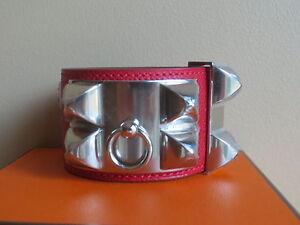 Hermes CDC COLLIER DE CHIEN Bracelet Rouge Casaque Epsom Leather Palladiu Small