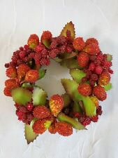 Vtg Plastic Millinery Berries Candle Ring Wreath Holder