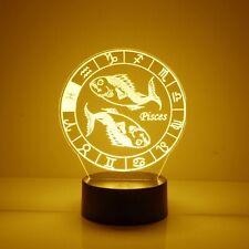 Pisces, Zodiac Signs Night Light 16 Color Change LED Desk Touch Lamp Home Decor