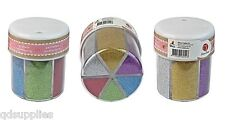 Fine Glitter Craft Shaker Pot Carousel 6 Bright Assorted Colours Cardmaking hp