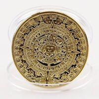 New Gold Plated Aztec Mayan Calendar Souvenir Commemorative Coin Collection Gift