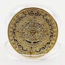 New Gold Plated Aztec Mayan Calendar Souvenir Commemorative Coin Collection Gift