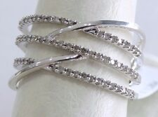 10K White Gold 1/3Ct Diamonds Round Crisscross Ring Women Fancy Right Hand Pave