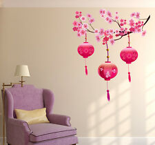 6900051 Wall Stickers Beautiful Chinese Lamps Lantern in Pink on Floral Branch