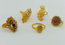 ELEGANT GIFT LOT 5 RING'S INDIAN BRIDAL WEDDING PARTY GOLD PLATED JEWELRY RING