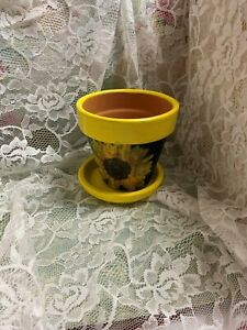 Small Terracotta Planter Hand Painted Yellow with Sunflower Decroupage