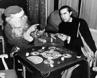 "BELA LUGOSI AS ""DRACULA"" PLAYING POKER WITH SANTA - 8X10 CHRISTMAS PHOTO (DD303)"