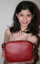NWT GUCCI MICRO GG GUCCISSIMA GG RED LEATHER WOMEN MESSENGER BAG 449413