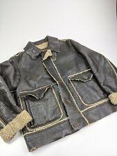 Vintage Marlboro Classics Faux Leather Shearling Bomber B3 Jacket Sz L