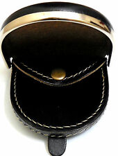 A Metal rimmed Leather coin change wallet tray purse in Black or Dark Brown