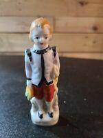Vintage Handpainted Porcelain/Ceramic Victorian Boy Figurine Made In Japan