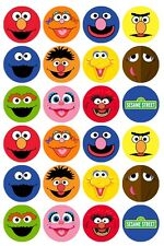 24 x Sesame Street Character Faces Edible Cupcake Toppers Pre-Cut