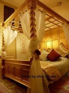 Custom made bespoke Tudur style Mahogany Four Poster Bed ... 15cm thick columns