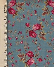 RED ROOSTER BED OF ROSES 26256  BLU1   100% Cotton Fabric priced by the 1/2 yard
