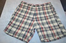 Mens size 38 J.Crew  plaid  casual cotton shorts navy green red white
