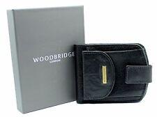 Woodbridge para hombres Genuino Cuero Billetera soporte de tarjeta de crédito Bolsa De Moneda 4009M-Negro